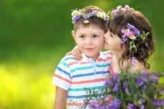 Portret dziewczyna i chłopiec zdjęcie royalty free