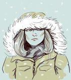 Portret dziewczyna w parka mody ilustraci wektorze Obrazy Stock