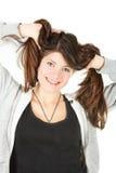Portret dziewczyna w sportswear z długie włosy Fotografia Royalty Free