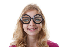 Portret dziewczyna z śmiesznymi glases Zdjęcia Stock
