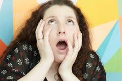 Portret dziewczyna z emocją Zdjęcie Stock