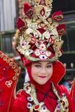 Portret dziewczyna z fantazja kostiumem przy Zachodnim Jawa Ludowych sztuk festiwalem zdjęcie stock
