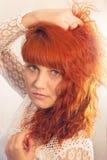 Portret dziewczyna z jej włosy Obrazy Royalty Free