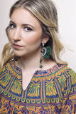 Portret dziewczyna z kolczykami Zdjęcia Stock