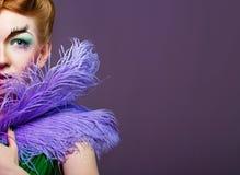 Portret dziewczyna z niezwykłym makijażem Zdjęcia Royalty Free