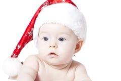 Portret dziewczynka z Santa kapeluszem Zdjęcie Royalty Free