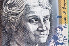 Portret Edith Cowan - australijczyka 50 dolarowego rachunku zbliżenie obraz royalty free