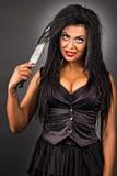 Portret ekspresyjna młoda kobieta z kreatywnie makijażu chwytem Zdjęcie Royalty Free