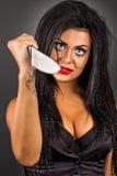 Portret ekspresyjna młoda kobieta z kreatywnie makijażu chwytem Fotografia Royalty Free