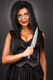 Portret ekspresyjna młoda kobieta z kreatywnie makijażu hol Fotografia Stock