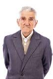 Portret ekspresyjny stary człowiek z kapeluszem zdjęcia stock