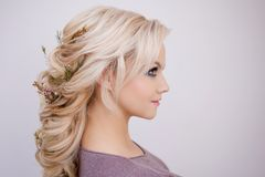 Portret elegancka młoda kobieta z blondynem Modna fryzura obrazy royalty free