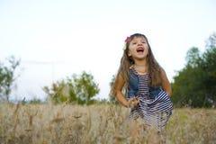 Portret emocjonalna czteroletnia dziewczyna Zdjęcia Royalty Free