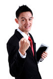 Portret energiczny młody biznesowy mężczyzna cieszy się sukces obrazy royalty free