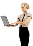 Portret of energieke onderneemster met laptop royalty-vrije stock fotografie