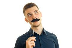 Portret facet z papierowym wąsy Obrazy Royalty Free
