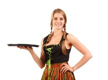 Portret fotografia Oktoberfest dziewczyna - kelnerka świętowania pojęcia odosobniony biel zdjęcie stock