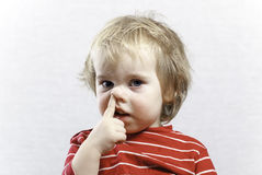 Portret funny baby toddler blonde boy Stock Photos