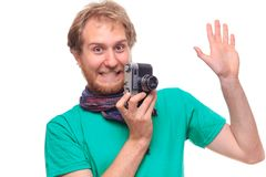 Portret of funny cheerful photographer with camera royalty free stock photography