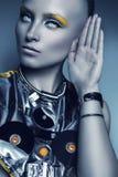 Portret futurystyczna kobieta z białymi oczami fotografia royalty free