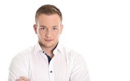Portret: geïsoleerde jonge blonde noordse mens over wit Royalty-vrije Stock Afbeelding