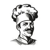 Portret gelukkige chef-kok in hoed en snor Glimlachende kokmens Vector illustratie Royalty-vrije Stock Foto's