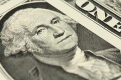 Portret George Washington na jeden dolarowym rachunku w Zdjęcia Royalty Free