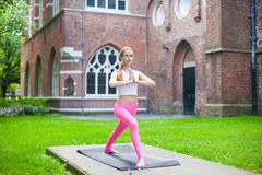 Portret girl Morning yoga in city royalty free stock image