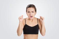 Portret gniewna i agresywna kobieta Zdjęcia Royalty Free