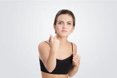 Portret gniewna i agresywna kobieta Obraz Stock