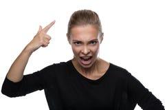 Portret gniewna kobieta na białym tle Zdjęcia Stock