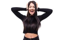 Portret gniewna zadumana szalenie szalona stres kobieta krzyczy out wyrażenie, twarzowy, piękna młodej kobiety burnout portret od Fotografia Stock