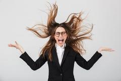 Portret gniewny bizneswoman ubierał w kostiumu fotografia royalty free