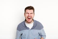 Portret gniewny płaczu mężczyzna, odosobniony Zdjęcia Royalty Free