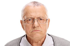 Portret gniewny senior fotografia royalty free