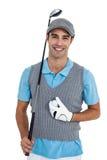 Portret golfowego gracza pozycja z piłką golfową i kijem golfowym obrazy stock
