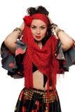 Portret gypsy ekspresyjna kobieta. Odosobniony Zdjęcie Royalty Free