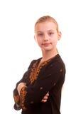 Portret recht junges Mädchen auf einem weißen Hintergrund Lizenzfreie Stockfotos