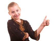 Portret recht junges Mädchen auf einem weißen Hintergrund Lizenzfreies Stockbild
