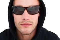 Portret hacker z okularami przeciwsłonecznymi Obraz Stock