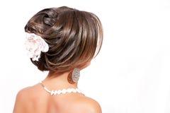 Portret - hairdress op een witte achtergrond Stock Fotografie