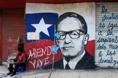 Portret het schilderen van vroegere President van Chili, Salvador Allende royalty-vrije stock afbeelding