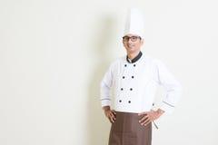 Portret Indiański męski szef kuchni w mundurze Obraz Royalty Free