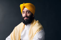 Portret Indiański sikhijski mężczyzna z sumiastą brodą Obraz Royalty Free