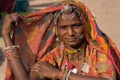 Portret India Rajasthani kobieta Zdjęcia Royalty Free
