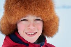 Portret jest ubranym futerkowego kapelusz nastolatek Obraz Royalty Free