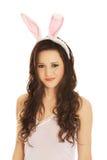 Portret jest ubranym królików ucho piękna kobieta Fotografia Stock