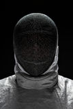 Portret jest ubranym maskę Męski szermierz Zdjęcia Stock