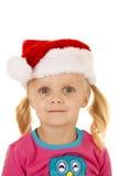 Portret jest ubranym Santa kapelusz śliczna dziewczyna Zdjęcie Stock