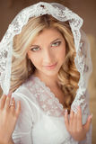 Portret jest ubranym w Klasycznej Białej przesłonie piękna panna młoda Attra Zdjęcie Royalty Free
